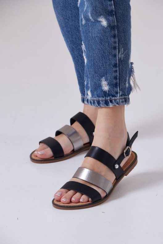Judy Sandals - Real Leather Black
