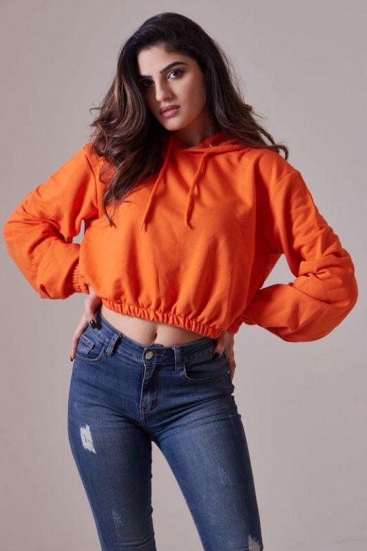 Cropped Hoodie - Orange